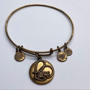 3/15$ Alex & Ani Gold tone LOVE Bangle Bracelet